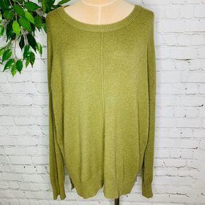 Hem & Thread Zip Hem Oversized Olive Green Sweater